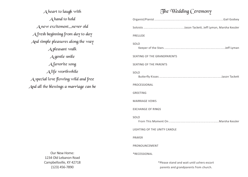 Page Wedding Program Arts Arts - Pages wedding program template