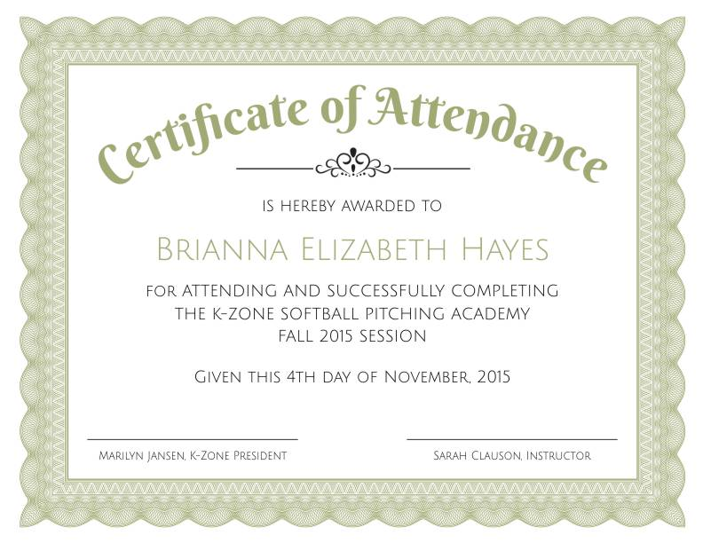 Formal Certificate Of Attendance Template  Certificate Of Attendance Template Microsoft Word