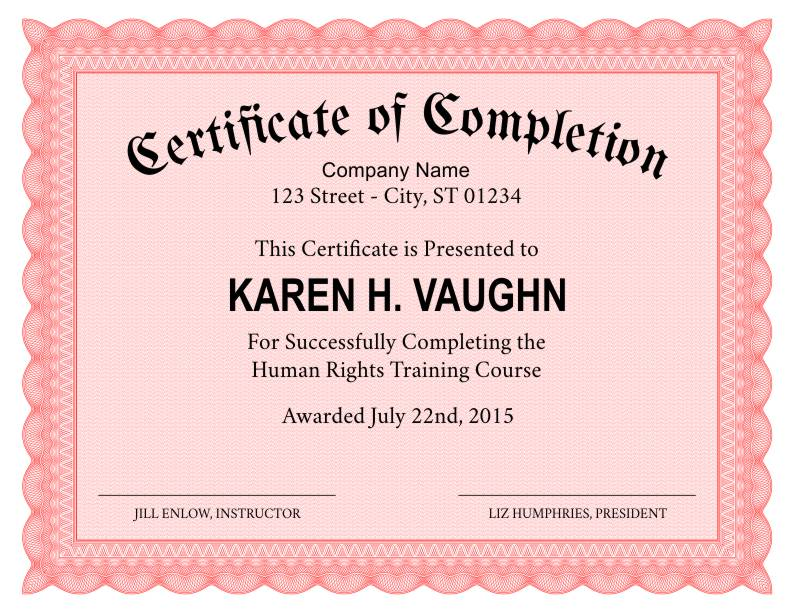 Formal certificate of completion template yadclub