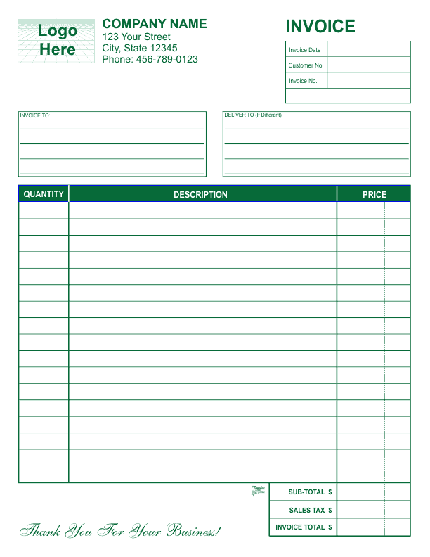 Free invoice templates free invoice template 1 green flashek Choice Image