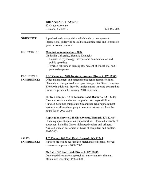 chronological resume - Chronological Resume Templates Free