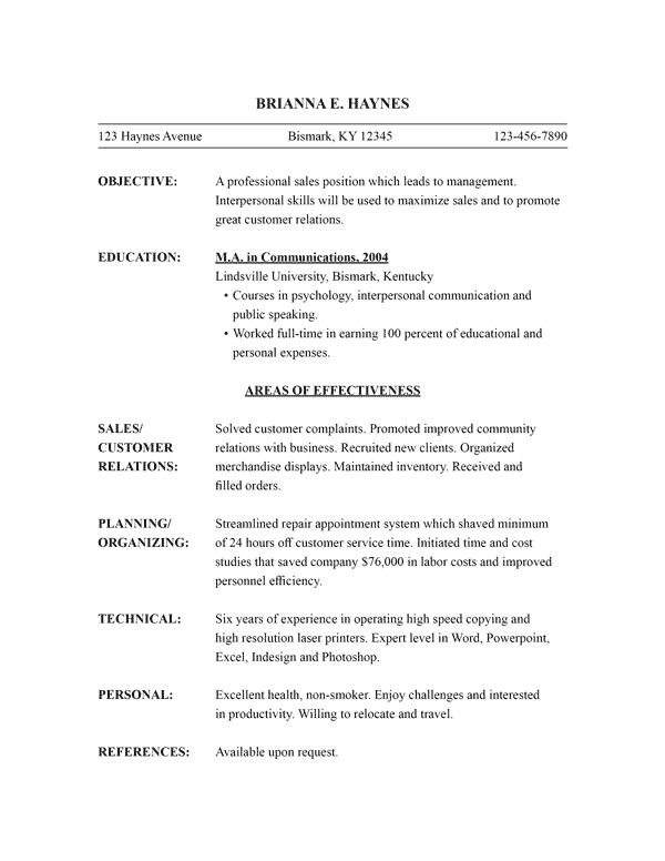 functional resume template - Combination Resume