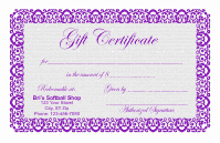 Gift Certificate Template 1 - Purple
