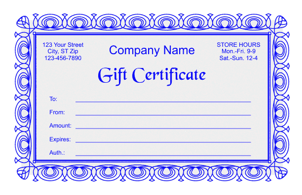Gift certificate template 2 for Gift certificate example templates
