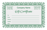 Gift Certificate Template 2 - Green