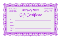 Gift Certificate Template 2 - Purple
