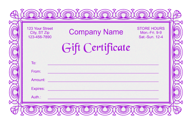Gift-Certificate-Template-2-Purple Microsoft Word Free Newsletter Template on