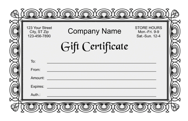 gift certificate template 2. Black Bedroom Furniture Sets. Home Design Ideas