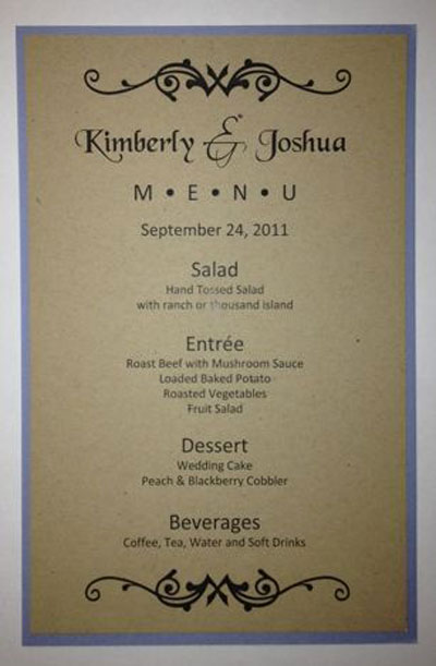 menu templates for weddings - half sheet wedding menu template 1