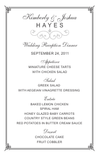 Wedding Menu Card 2