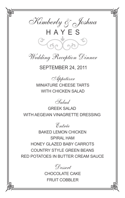 Half Sheet Wedding Menu Template 2