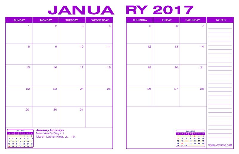 2017 Desk Calendar Purple