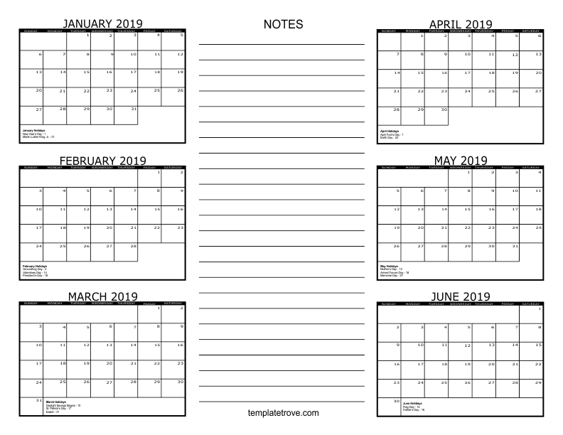 2019 6 Month Calendar From January To June 6 Month Calendar   2019