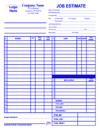 Job Estimate Form - Blue