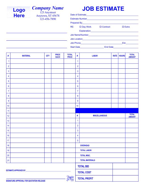 job estimate template