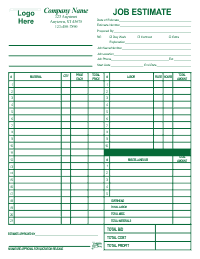 Job Estimate Form - Green