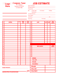 Job Estimate Form - Red