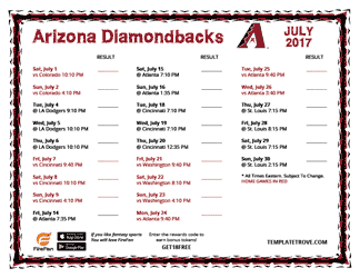 July 2017 Arizona Diamondbacks Printable Schedule