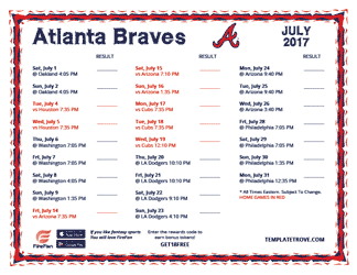 July 2017 Atlanta Braves Printable Schedule