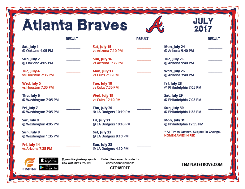 printable 2017 atlanta braves schedule