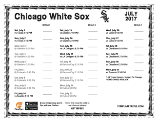 July 2017 Chicago White Sox Printable Schedule