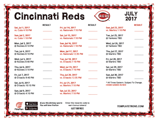 July 2017 Cincinnati Reds Printable Schedule