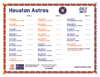 July 2017 Houston Astros Printable Schedule