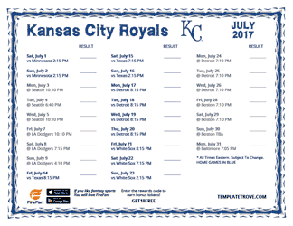 July 2017 Kansas City Royals Printable Schedule