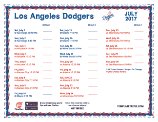 July 2017 Los Angeles Dodgers Printable Schedule