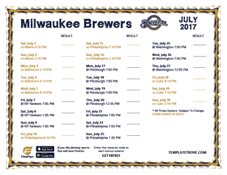 July 2017 Milwaukee Brewers Printable Schedule