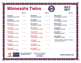July 2017 Minnesota Twins Printable Schedule