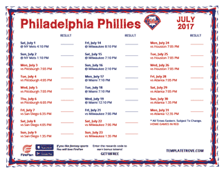 July 2017 Philadelphia Phillies Printable Schedule