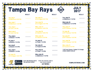 July 2017 Tampa Bay Rays Printable Schedule