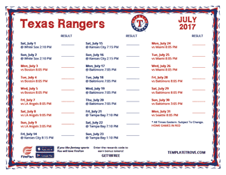 July 2017 Texas Rangers Printable Schedule