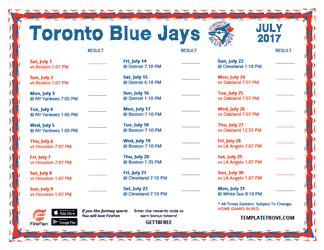 July 2017 Toronto Blue Jays Printable Schedule