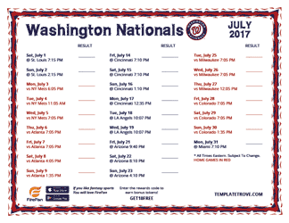 July 2017 Washington Nationals Printable Schedule