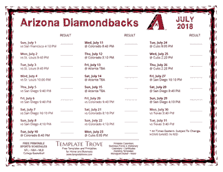July 2018 Arizona Diamondbacks Printable Schedule