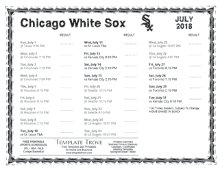 July 2018 Chicago White Sox Printable Schedule