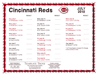 July 2018 Cincinnati Reds Printable Schedule