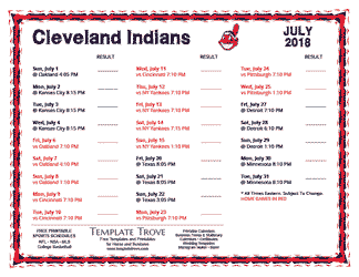 July 2018 Cleveland Indians Printable Schedule