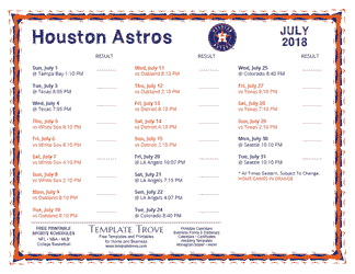 July 2018 Houston Astros Printable Schedule