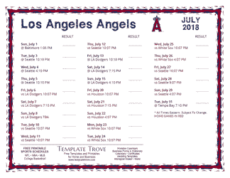 July 2018 Los Angeles Angels Printable Schedule