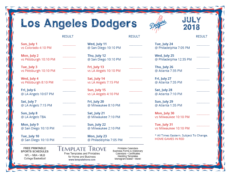 2018 Printable Los Angeles Rams Schedule My Blog About
