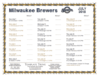 July 2018 Milwaukee Brewers Printable Schedule