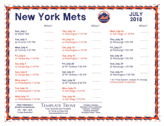July 2018 New York Mets Printable Schedule