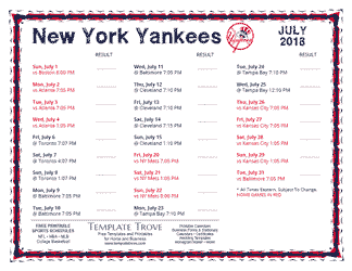 July 2018 New York Yankees Printable Schedule