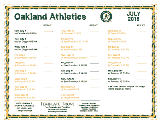 July 2018 Oakland Athletics Printable Schedule