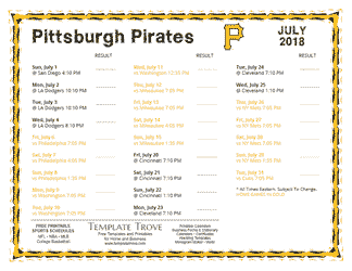 July 2018 Pittsburgh Pirates Printable Schedule