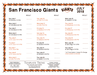 July 2018 San Francisco Giants Printable Schedule