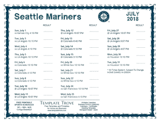July 2018 Seattle Mariners Printable Schedule